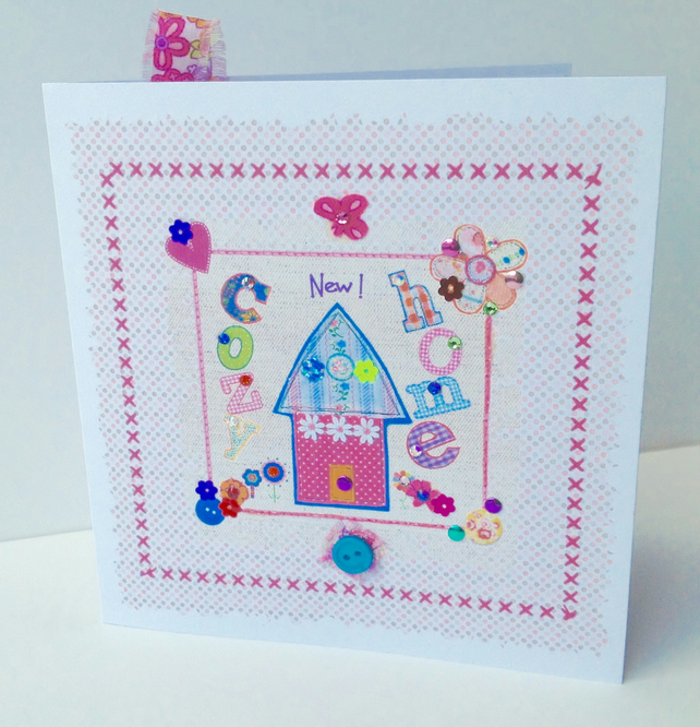 New Home Greeting Card,Printed Appliqué Design,Handmade,Personalised