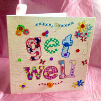 Get Well, Printed Applique Design, Hand Finished Get Well Card