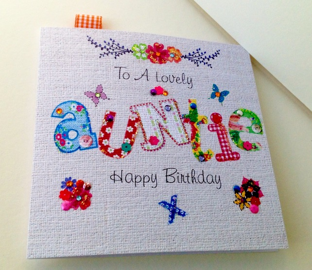 Birthday Card AuntiePrinted Applique DesignHandfinished Greeting