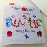Birthday Card Auntie,Printed Applique Design,Handfinished Greeting Card
