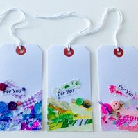 REDUCED,OFFER,Gift Tags 3pk, Collage Design Handmade Message Tags