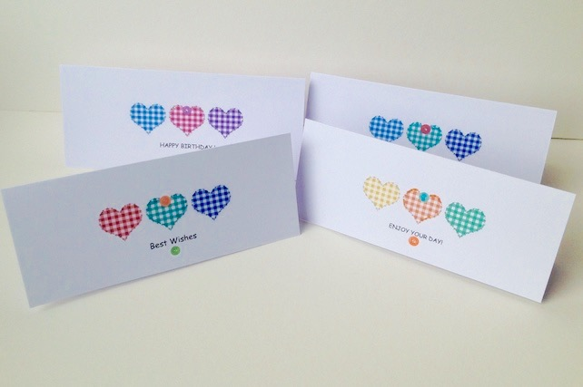 Birthday Cards Pk of Four,'Gingham Hearts'Design,Various Birthday Sentiments