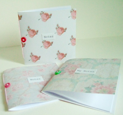 Vintage Floral Mini Notebooks, Handmade Notebooks pack of 3