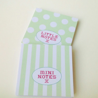 Notebooks Set of Two,In Pastel Spots & Stripes Print,Handmade Notebooks