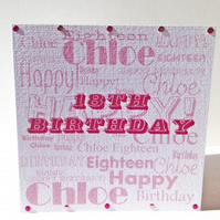Typeography Style Personalised Birthday Card,Hand Finished Greeting Card