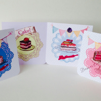 Handmade Notecards Set of Four,Patisserie,Cake,Dessert Theme.
