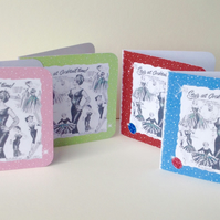 Handmade Notecards Set of Four,'1950s Fashion'Theme.