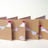Notecards,Set of Four,Vintage Rose Bunting and Buttons,Handmade Notecards.