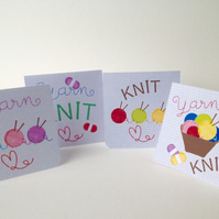 Notecards Set of Four,Knitting and Yarn Theme,Handmade Notelets