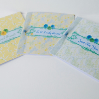 Friend Greeting Card,Birthday,Just For You,Open Greeting,Handmade 3pk