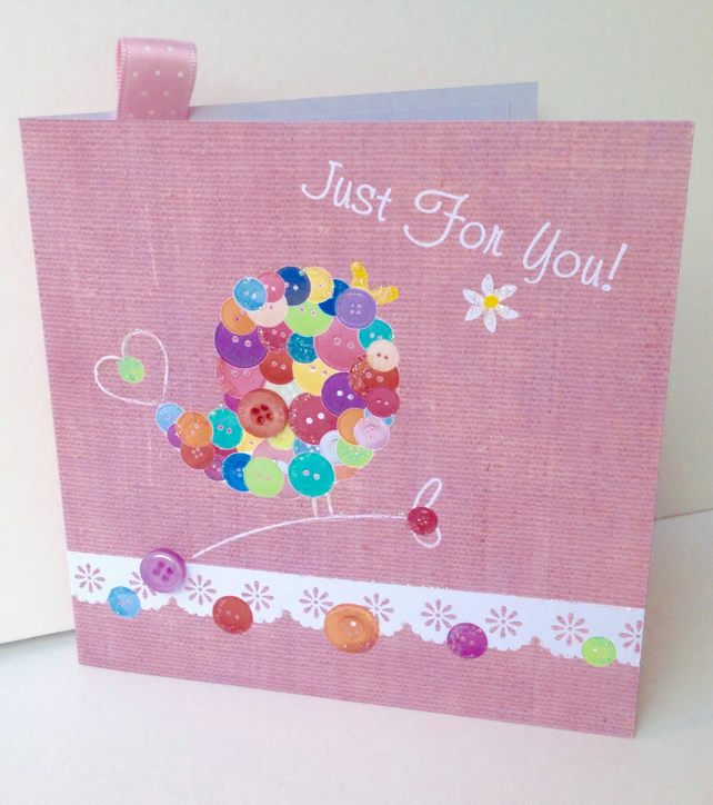 Birthday Card,'Button Love Bird',Handmade,Personalised