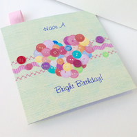 Birthday Card,'Button Love Heart',Handmade,Personalised,