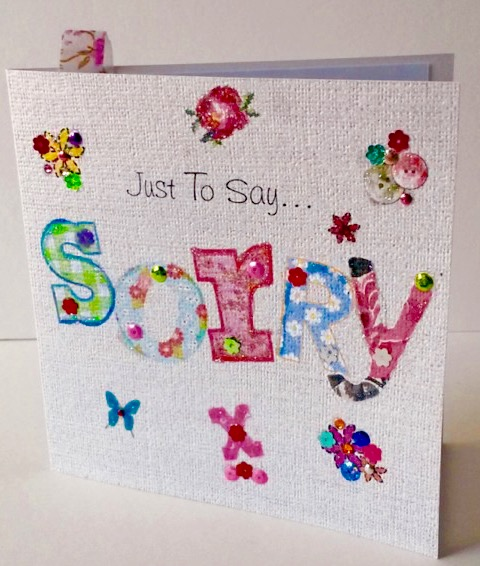 Greeting Card,Sorry Printed Applique Design,Can Be Personalised,Handmade Card
