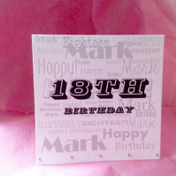Typeography Style Personalised Birthday Card.Hand Finished Greeting Card