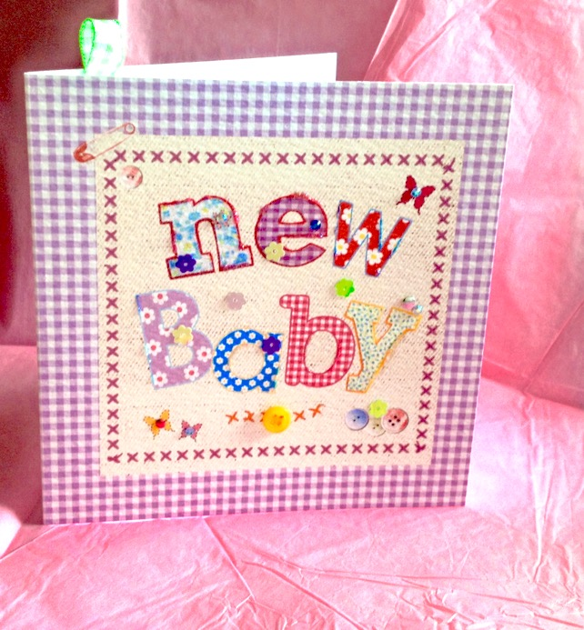New Baby Card, Printed Applique Design, Hand Finished New Baby Card