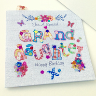 Birthday Card Granddaughter,Printed Appliqué Design,Handmade,Personalised