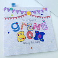 Birthday Card Grandson,Printed Appliqué Design,Personalised,Handmade