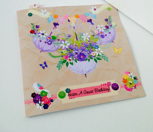 Birthday Card,Greeting Card,Handmade,Handfinished,Personalised