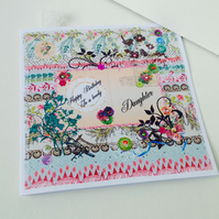 Birthday Card Daughter,Printed Patchwork,Handmade,Personalised