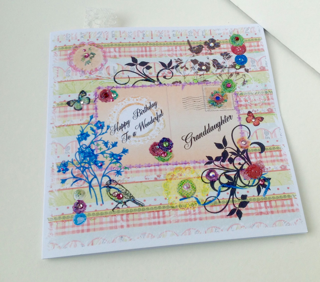 Birthday Card Granddaughter,Printed Patchwork Design,Handmade,Personalised
