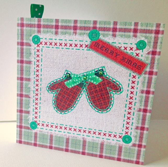 Christmas Card Pack,'Seasonal Stitches'Hand Made Xmas Cards 5pk
