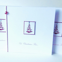 Christmas Card Pk of Five,'Oh Christmas Tree',Handmade Xmas Cards