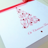 Christmas Card 5pk,'Ruby Tree'Printed Design