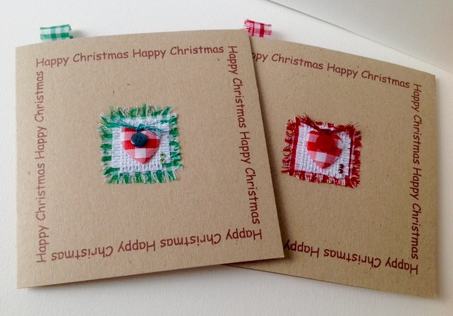 Christmas Cards'Christmas Gingham'Five PK Handmade Xmas Greeting Cards