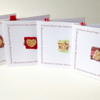 Christmas Cards,Pk Of Five,Handmade 'Gingerbread Design'Xmas Cards