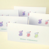 Christmas Cards,Pk of Five,'Sparkling Stockings',Can Be Personalised