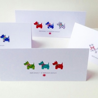 Christmas Cards,Pk of Five,'Seasonal Scotties'Handfinished Xmas Cards.