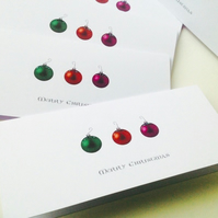 ChristmasCards,Pk of Five' Baubles Bright',Handmade Xmas Cards