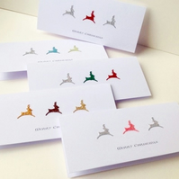 Christmas Cards,Pk of 5,'Dancing Deers',Handmade Xmas Cards