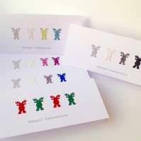 Christmas Cards Pk of 5,'Rudolph Sparkles',Handmade Xmas Cards,