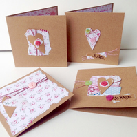 Notecards,Set of Four,Vintage Rose Collage Hearts,Handmade