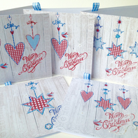 Christmas Cards,Pack of Five,'Winter Gingham 'Handmade Xmas Cards,Personalised