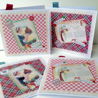 Christmas Cards,Pack of Four, 'Christmas Traditions',Handmade,Personalised