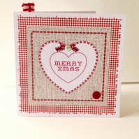 Christmas Cards Pack of Five,'Xmas Gingham'Handmade Xmas Cards