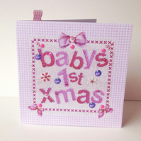 Baby's1st Xmas Card Pink,Printed Applique Design,Handmade Xmas Baby Card