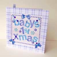 Baby's1st Xmas Card Blue,Printed Applique Design,Handmade Xmas Baby Card
