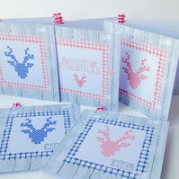 Christmas Cards,Pack of Five,'Stag n Stitches',Handmade Xmas Card Pack