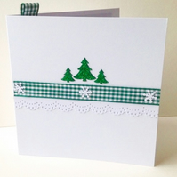 Christmas Card pk of 5,'Xmas Green'Handmade Christmas Cards,Can Be Personalised