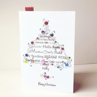 Christmas Card Pk of Five,'Feeling Festive',Handmade Xmas Card Pk