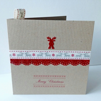 Christmas Card Five Pk,'Rudolph in Red'Handmade Xmas Cards,Can Be Personalised