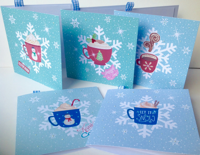 Christmas Cards Pack of Five,Handmade,'Snug in the Snow',Can Be Personalised