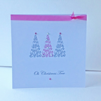 Christmas Card 5pk'Glistening Trees'Design,Hand Finished,Can be Personalised