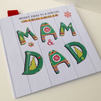 Christmas Card Family,Mam & Dad,Design,Handmade Card,Can Be Personalised