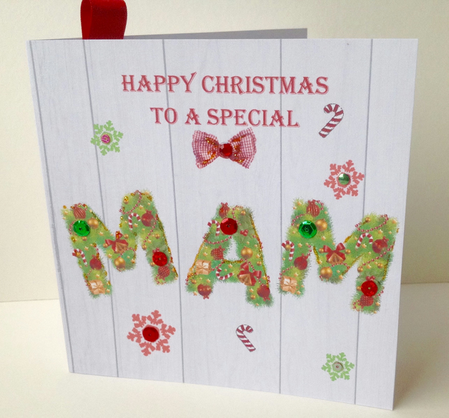 Christmas Card Family, Mam, Printed Design, Handmade,, Can Be Personalised