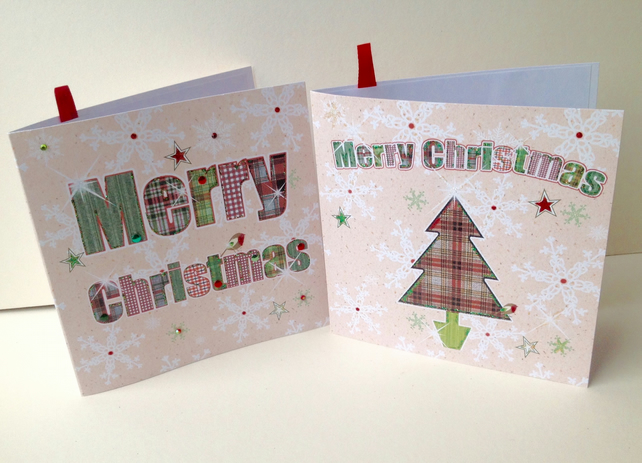 Christmas Card pk of 4,'Festive Tartan',Alphabet Merry Xmas Design,Handmade