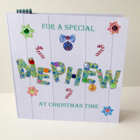 Christmas Card Family,Nephew,Printed Design,Handmade,Can be Personalised